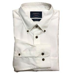 CHARLES TYRWHITT M Shirt Solid White OCBD NEW